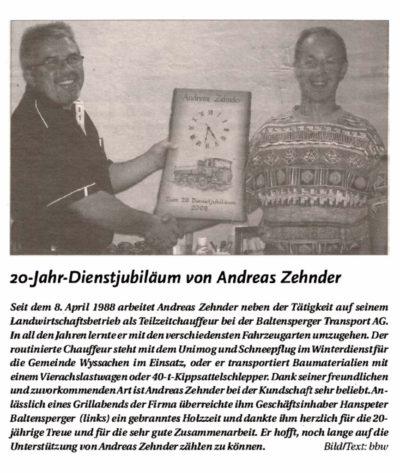 thumbnail of 20-Jahre-Dienstjubiläum von Andreas Zehnder